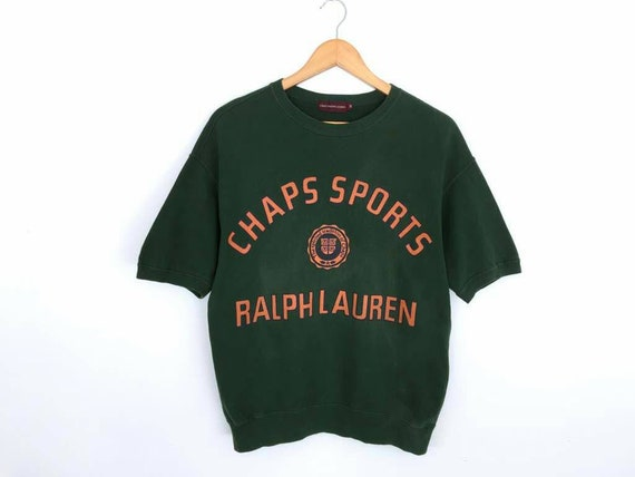 vintage!! CHAPS RALPH LAUREN embroidery and spell out pullover sweatshirt orange crew neck unisex size large LvU9hTWJJ