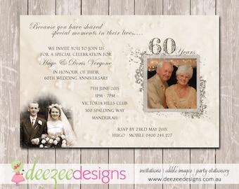 Wedding anniversary invitation th golden you print