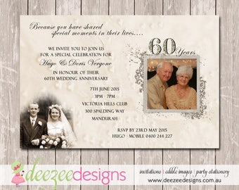 Wedding Anniversary Invitation   60th Diamond   YOU PRINT   A006
