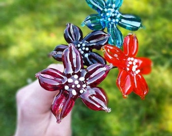 Lampwork Flower Stems - Gifts for the Garden - Handmade Glass Flowers - Gifts for Home - Gift for Her - UK Artisan Handmade - Lampwork Glass