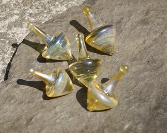 Silver Fumed Glass Spinning Top Decoration - Welsh Spin Top - Silver Spinning toy