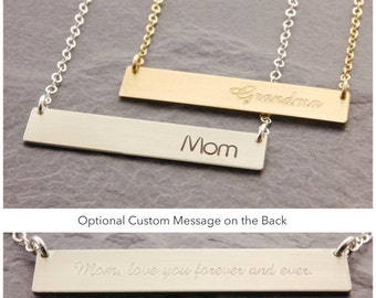 Personalized Bar Necklace, silver bar, gold bar, mom necklace, personalized bar necklace, nana necklace, double sided, custom message, N24