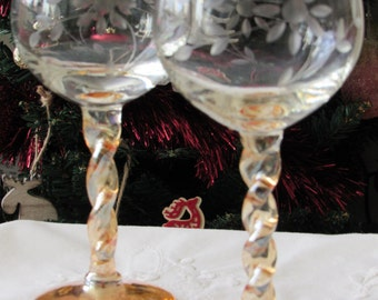 Vintage Wine Glasses with twisted amber coloured stems x 2, Pair of Vintage Hock Glasses with amber glass, twisted stems