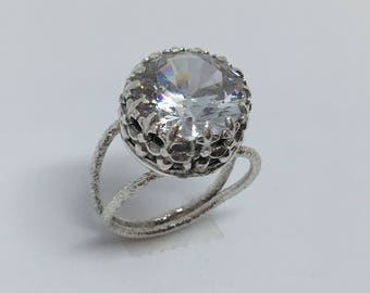 12mm cubic zirconia, sterling & fine silver ring.