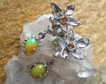 Natural Fire Opal Earrings, Floral Silver Earrings, Handmade Silver Earrings, Nature Inspired Jewelry