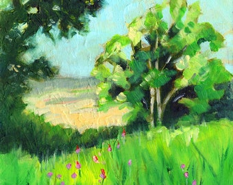 Small Oil Painting. Yorkshire Landscape. Rievaulx Terrace. Country Meadow. Impressionist Wall Art. Framed Painting. Summer Landscape.