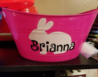 Easter Basket, Personalized Plastic Oval Easter Bunny Tub. Easter basket boy, Easter basket girl