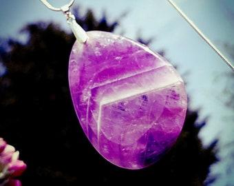 Amethyst Pendant, Amethyst necklace, Large pendant, Statement jewellery, Silver snake chain, Designer Pendant, Purple pendant,Spiritual gift