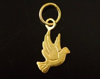 Sold by piece, 24k gold vermeil bird charm, 14.60x11.60x1.05 mm