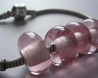 Lampwork Beads Pink Handmade Glass Ericabeads Peachy PInk BHB European Charm Beads (4)