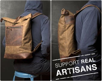 Roll Top Backpack Waxed, Roll Top Bag for Hipsters, Hipster Backpack with Rolltop