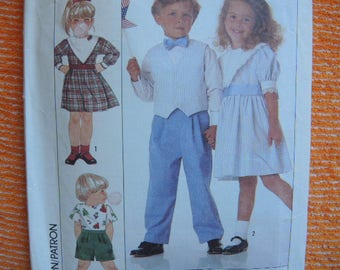 vintage 1980s simplicity sewing pattern 9532 childs dress pants shorts and vest size 3-4-5