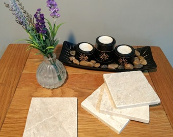 Set of 4 Natural White Marble Coasters