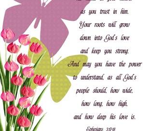 Ephesians 3:17 18 Tulips U0026 Butterflies 8 X 10 Printable Download