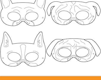 Pets Printable Coloring Masks cat mask dog mask printable
