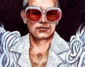 Elton John print of original painting