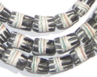 50 Black Strawstack Sandcast Beads - Striped Black Beads - Ethnic Glass Beads - Matte Black Beads - Cylindrical Beads (SAND-CYL-BLK-11)