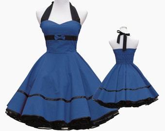 50's vintage dress full skirt black ocean blue sweetheart bow design custom made Retro