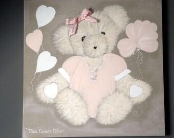 Girl Teddy bear painting
