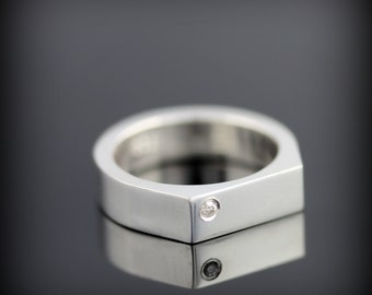 Geometric ring - sterling silver ring with flush set diamond