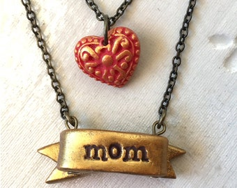 Christmas Gift for mom, Gold Ribbon and Heart Mama Necklace, Layered mommy Necklace