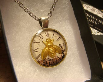 Small Bee over Clock Pendant Necklace (2458)