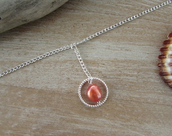 """Necklace in, Choker necklace silver chain, ring and Red Freshwater Pearl """"Islands"""""""