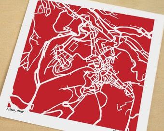 Siena Map, Hand-Drawn Map Print of Siena Italy