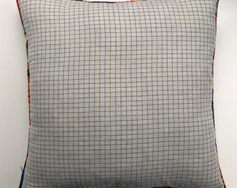 Handmade natural linen check cushion with contrast piping