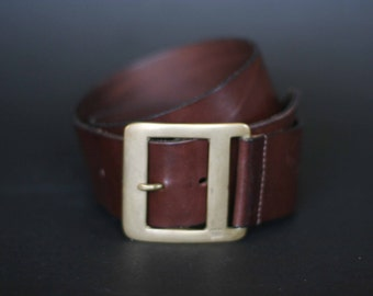 vintage J. Crew brown leather belt with brass buckle women's size S/M