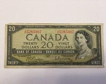 1954 Canadian Twenty Dollar Bill