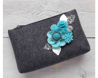 Felt Cosmetic Bag with flowers, Makeup Bag, Makeup Case, Best Friend Gift with Turquoise Flowers