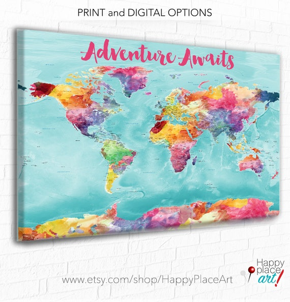 Colorful world map bright world map with us states cities colorful world map bright world map with us states cities large detailed world map canvas world map print watercolor map push pin map gumiabroncs Choice Image