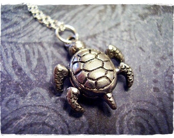 Movable Sea Turtle Necklace - Antique Pewter Sea Turtle Charm on a Delicate Silver Plated Cable Chain or Charm Only