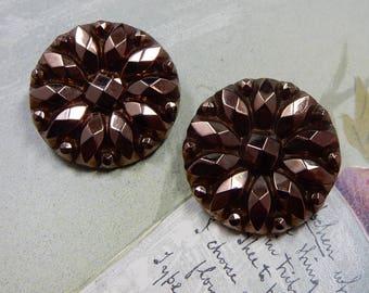 Copper Art Glass Clip Back Earrings Western Germany    MG5