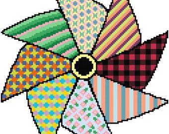 Counted Cross Stitch Pattern Pinwheel