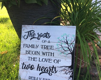 The roots of a family tree begin with the love of two hearts