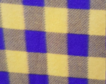 Yellow and Purple Checkered Print Fleece Fabric by the yard