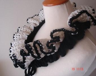 Clearance Sale 50% off Ruffled Cowl / Neckwarmer Feminine Black and White