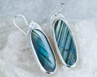 Labradorite Earrings in Sterling Silver Handmade