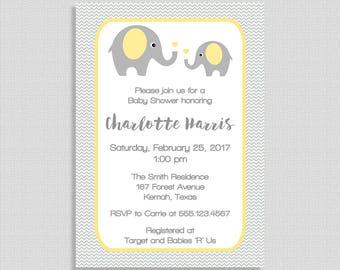 Elephant Baby Shower Invitation, Yellow & Grey Chevron Invite, Gender Neutral Shower Invite, DIY PRINTABLE