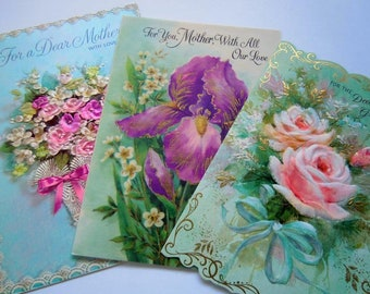 Vintage Die Cut Pink and Turquoise Flowers Floral Greeting Cards Lot