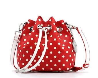 Sarah jean polka dot bucket handbag - racing red and white
