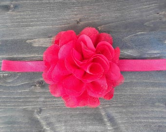 Red Flower Headband - Shabby Flower Headband - Big Flower Headband - Red Headband - Classic Headband - Classic Red