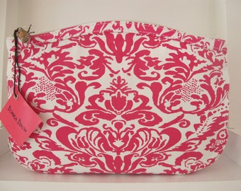 monogrammed hot pink damask cosmetic bag