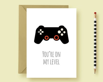 Anniversary Greeting Card - Valentine's Card - Video Game Greeting Card, Gamer, Gaming, Game Control - Witty, Funny & Punny - FREE SHIPPING