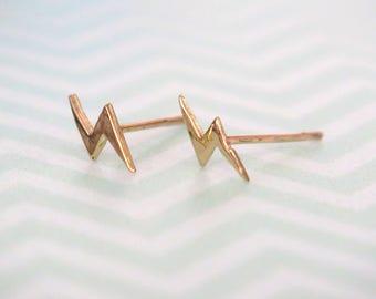 Gold Stud Earrings, Lightning Studs, Dainty Earrings, Gold Studs, 14K Gold Studs, Yellow Gold Studs, Solid Gold Earrings, Mothers Day Sale