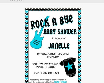 5 X 7  Rockstar Baby Shower Invitation