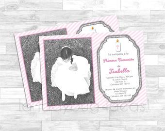 Invitación Primera Comunión o Bautizo de Niña, Rosa. Pink invitation. First Communion Invite for girl. Pink baptism / first communion invite