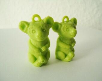 Green Koala Bear- vintage plastic charm